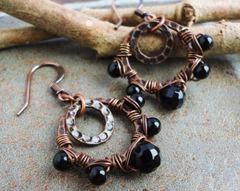 Wire-wrapped Black Onyx Double Hoop Earrings in Antiqued Copper, Handmade Earrings