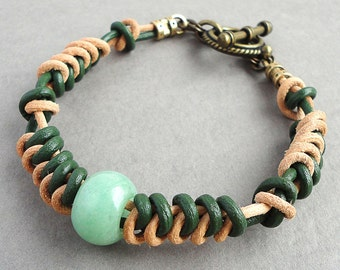 Unisex Bracelet Hand-woven Green & Natural Tan Two-tone Leather with Green Aventurine Stone Accent, Antique Brass Clasp
