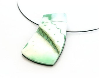 Modern Pendant Necklace - SALE - Green Necklace, Clay Jewelry for Women, Art Necklace, Statement Jewelry, Contemporary Jewelry, Gift for Her