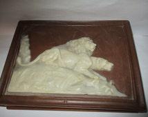 Jewelry/Trinket  Box Ivory Color Lions ~ Vintage  Vanity  Mens Jewerly Box - Vintage Carved Box