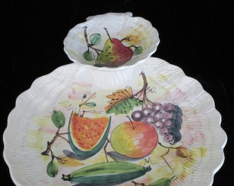 Double Decker  Serving Dish Party Platter - Shrimp dish -Cheese & Crackers Vintage Hand-Painted Ceramic  Italy