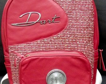 Red Dodge Dart Backpack with Leather and Vintage Emblems
