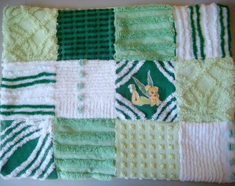 Custom Order Example - Green Tinkerbell Handmade Vintage Cotton Chenille Patchwork Quilted Security Blanket, Lovey, Blankie, Doll Blanket
