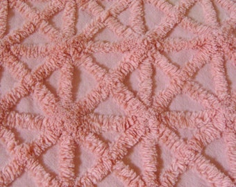 Peach Geometric Plush Vintage Cotton Chenille Bedspread Fabric 12 x 24