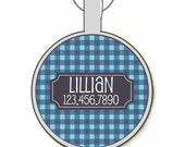 Gingham Plaid Personalized Dog ID Pet Tag Custom Pet Tag You Choose Tag Size & Colors, Available in 7 Colors