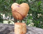 "Wood sculpture - ""LOVE"" - unique heart gift handmade in Australia"