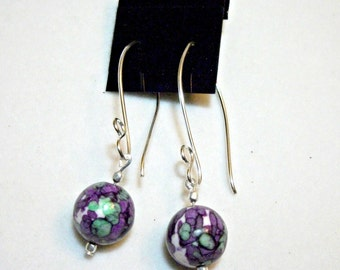 Purple rain flower stone earrings