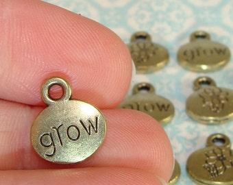8 Grow Flower Charms Bronze Plated (17106) 13mm Inspirational Gardening Daisy Spring Garden Housewarming Jewelry Supplies Bulk Charms Beads