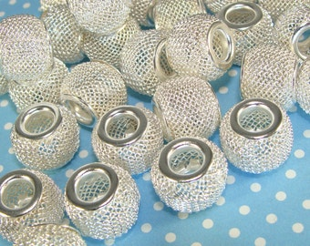 15 pcs 12mm Silver Mesh Beads (42730) Large Hole Metal Jewelry Supplies for Bracelets Necklaces Big Hoop Earrings Lightweight Chunky Bulk