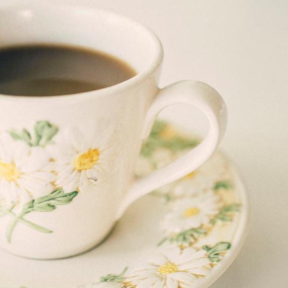 Still Life Photograph, Tea Photo, Vintage Style Photography, Kitchen Decor, Fine Art Print, Shabby, Retro Teacup Print, Floral, Wall Art