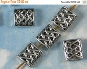 SALE 12 Tab Beads Celtic Endless Knot Antique Silver 10mm Rectangle (P620)