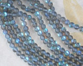 64 New Glowing Crystal Beads Black Diamond Aqua Blue Round 6mm Frosted Matte Gray (5713)