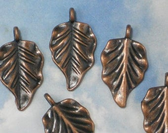 BuLK 30 Large Leaf Charms Leaves Antiqued Copper 32mm Pendants  (P1355 -30)