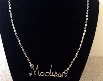 Custom Madison  Wire Necklace, name necklace, personalized jewelry