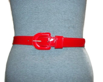 Vintage Red Patent Womens Belt Red Patent Skinny Belt Red Patent Waist Belt Waist Belts For Women Red Patent Belt Skinny Red Skinny Belt