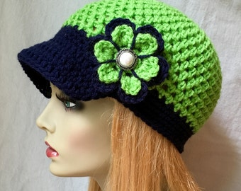 Seattle Seahawks Lime Green, Blue Womens Hat, Crochet Beret, Teens, Sports Team , Birthdays Gifts for Her, JE660B2
