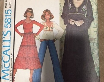 McCalls 5815 Size 12:  Misses BoHo Top and Skirt with Embroidery Transfer.   Vintage 1970s Sewing Pattern
