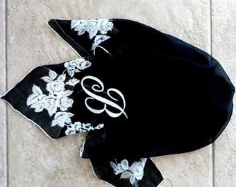 Vintage Chiffon Scarf Black Sheer White Roses Letter B Initial B Alphabet B 1970s