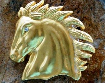 Vintage Western Belt Buckle Horse Head Cowboy Horse Head Gold Tone Metal