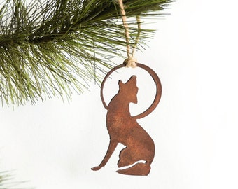 Coyote Ornament by WATTO Distinctive Metal Wear/ Coyote and Moon/ Howling Coyote / Christmas Gift/ Christmas Ornament/ Southwest Ornament
