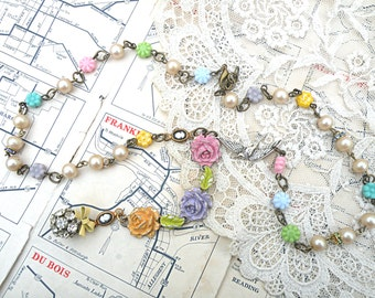 spring necklace flower assemblage roses rhinestone ball pendant pastel bird Y cleavage