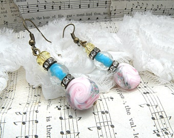 spring pastel earrings assemblage glass beads upcycle vintage jewelry homespun