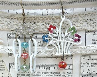 mismatch basket earrings assemblage recycle objects