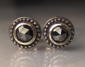 Rose Cut Black Diamond Earrings in Sterling Silver