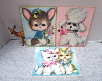 3 Adorable Vintage Giant Greeting Cards w/ Envelopes, Anthro Puppies Kittens, Rabbit Pastel Pets by Coby, Frameable, Pink Blue Nursery Decor