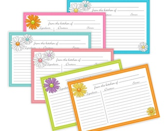 DAISY Recipe Cards Lined 4x6 - Instant download_no 810