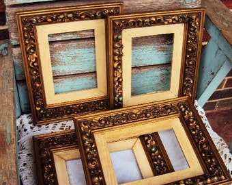 Vintage Wood and Gesso Picture Frame Set Frames Vignette French Country Farmhouse Baroque Wood Frames Chippy Scatter Frames Nursery wedding