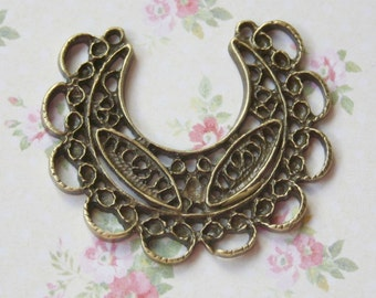 pack of 6 Antique Bronze Pendant or Earring Connector