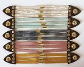 Leather Cuff - Leather Bracelet - Wide Bracelet - Multi Strand Bracelet - Mint Leather Cuff - Blush Leather Bracelet - Indigo Leather Cuff