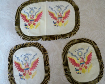 Vintage Home Decor Linen Embroidered U.S. Army Chair Set1940's