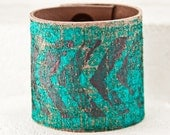 Turquoise Cuffs Bracelets Leather Wrist Bands - March Finds, 2016 Fashion, Unique Gift - Handpainted Accessories