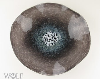 MADE TO ORDER Blown Glass Wall Art Medium Grey Poppy Wall Hanging Decorative Art Glass Sculpture
