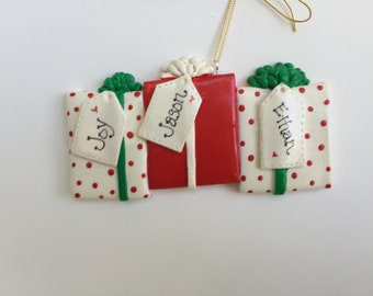 Personalized Family of 3 Christmas Present Ornament /family ornament/ family of three
