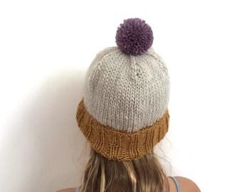 Colourblock Pom-Pom Beanie - Warm Wool Hat for Kids - size 5-10 - old gold / ivory / dusty purple