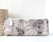 Black and White Botanical Cute Floral Pencil Case Long Zipper Pouch