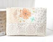 Zipper Pouch Supply Bag Neutral Pastels Bag Pouch Modern Patchwork Bag
