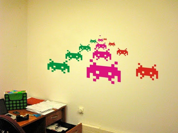 Space invaders pixel creatures wall decals vinyl stickers art - Space invader wall stickers ...