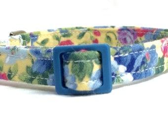 Boy Girl Blue Yellow Flowers Cat Collar Fabric Bell Breakaway