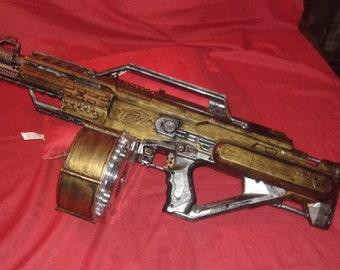 Fully Automatic Steampunk Nerf Type Machine Gun W Tri Pod Dart