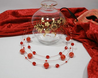 Necklace Murano glass, Red color
