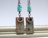 Verdigris Earrings, Copper Earrings, Rustic Southwest Earrings, Copper Jewelry, 7th Anniversary, Copper Gift, Metal Earrings