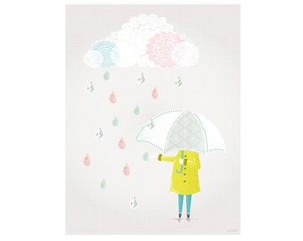 When will it stop? Nursery Art Print, Bad Weather Poster, Whimsical Wall Art Print, Home Office Nursery Wall Decor, Laura Amiss, Gift for