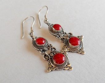 Outstanding Sterling Silver coral dangle Earrings / 1.8 inch long / silver 925 / Balinese handmade jewelry