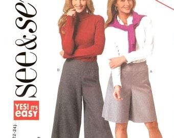 Butterick See & Sew B5771 Sewing Pattern 10-24 Culottes