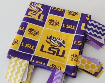 Free shipping, READY to SHIP, taggie, blanket, toy, baby, gift, LSU, Louisiana State, minky, ribbon, purple, gold