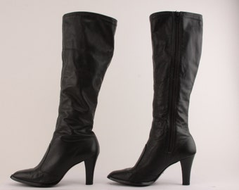 Vintage 70s 80s Black Leather Boots High Heels Knee High ~ size 6.5 M